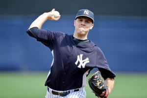 Chase Whitley pitching during spring training.