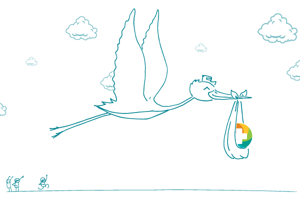 Illustration of the Picture Public Health logo (a multi-colored camera shutter with a + in the middle) being carried by a flying stork, as several people cheer from the ground.