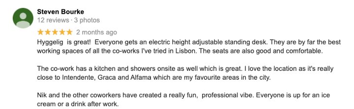 Five Star Google Review of Hyggelig Coworking Space Lisbon