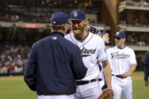 SAN DIEGO, CA-APRIL 11: Andrew Cashner #34 is congratulated by Bud Black #20 of the San Diego Padres after throwing a one hitter against the Detroit Tigers at Petco Park on April 11, 2014 in San Diego, California. (Photo by Andy Hayt) *** LOCAL CAPTION *** Andrew Cashner;Bud Black