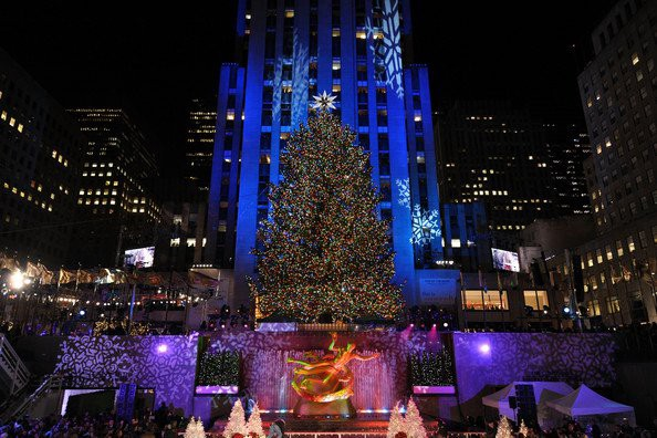 last night huge crowds surrounded rockefeller center to view the lighting of its famous christmas tree an event that takes place every year to mark the - Big Christmas Tree In New York