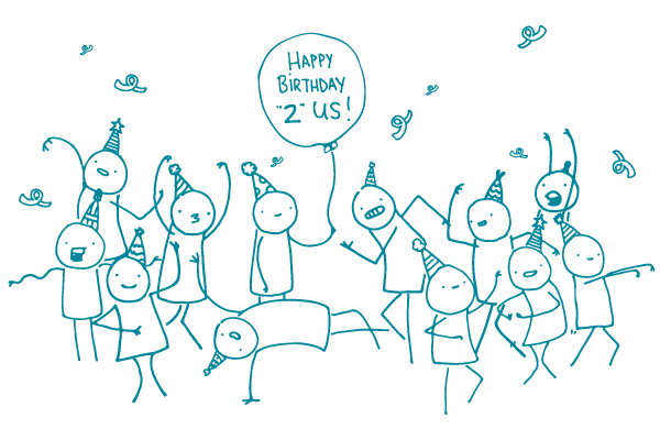illustration of doodles having a party with a balloon that says happy birthday 2