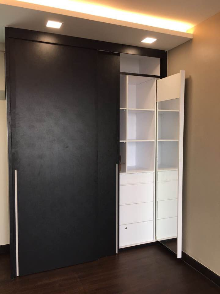 Customize Wardrobe With Sliding Door And Pull Able Mirror For Renovation  And Interior Design In Singapore By One Last Hope Interior