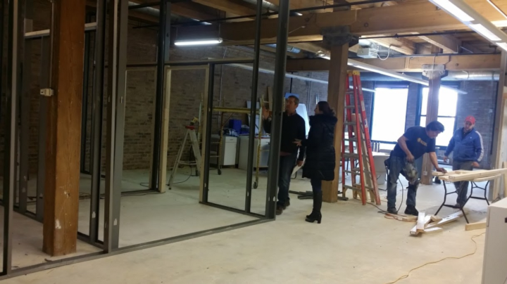 Framing out the walls of the new conference rooms