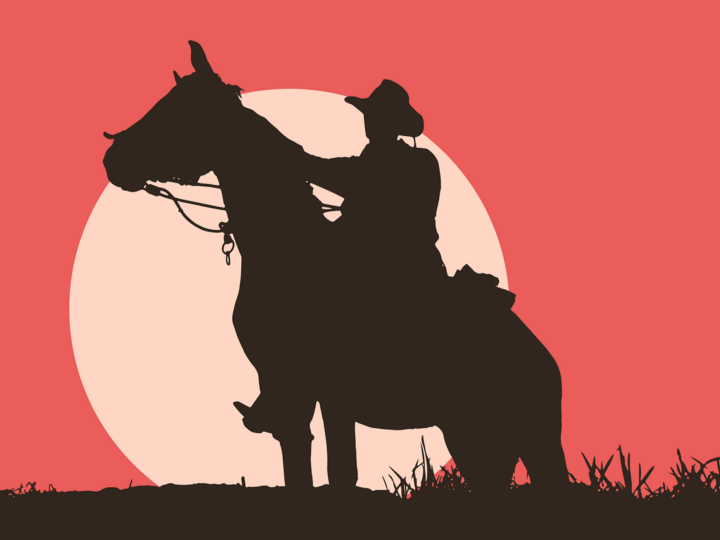 Cowboy on Horse silhouette