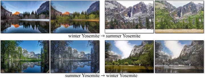 winter and summer in yosemite