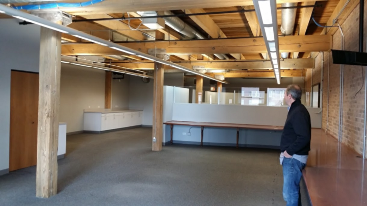 Ed Magnus, our landlord, in the space that would soon become Packback's!