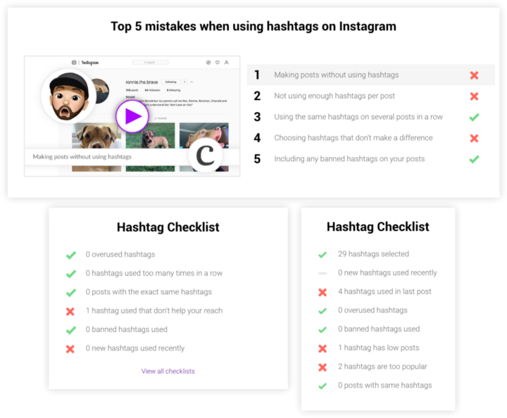 Instagram Hashtag Checklists from Curate