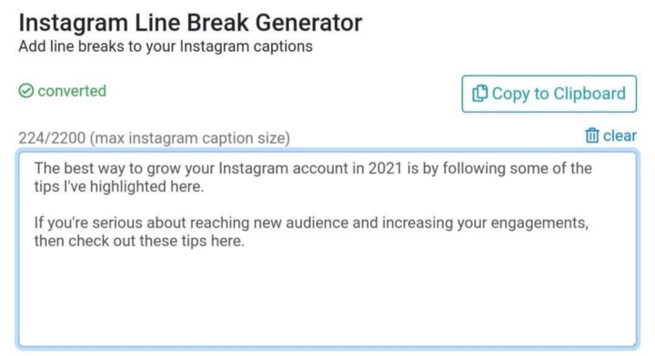 good instagram caption tool for line breaks