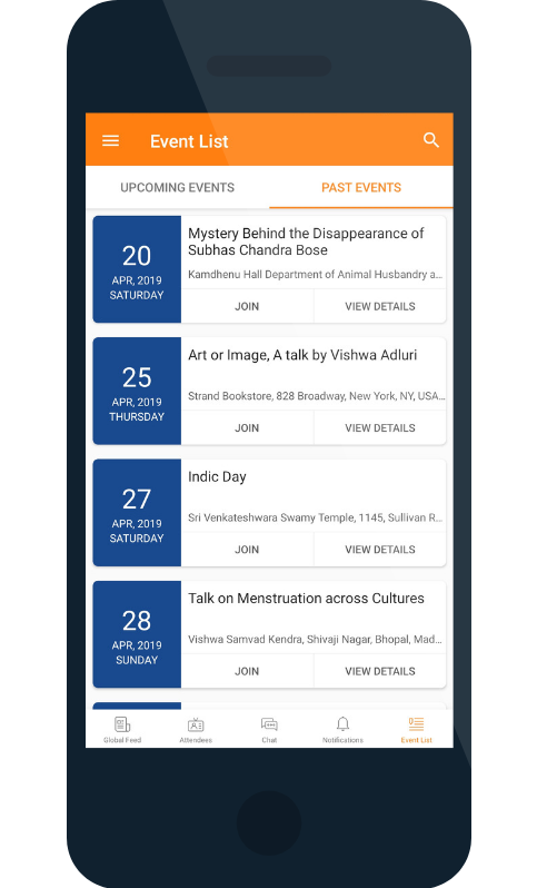 multi-event app events list for INDICA 2019