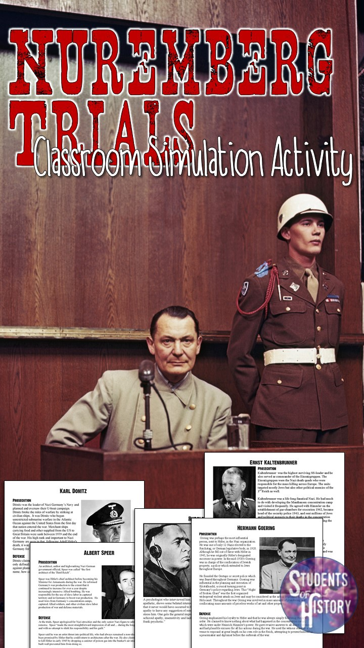 nuremberg trials simulation for the holocaust students of  included in the are 6 short readings on nazis who were tried at nuremberg each reading includes a photo and an argument from the prosecution of