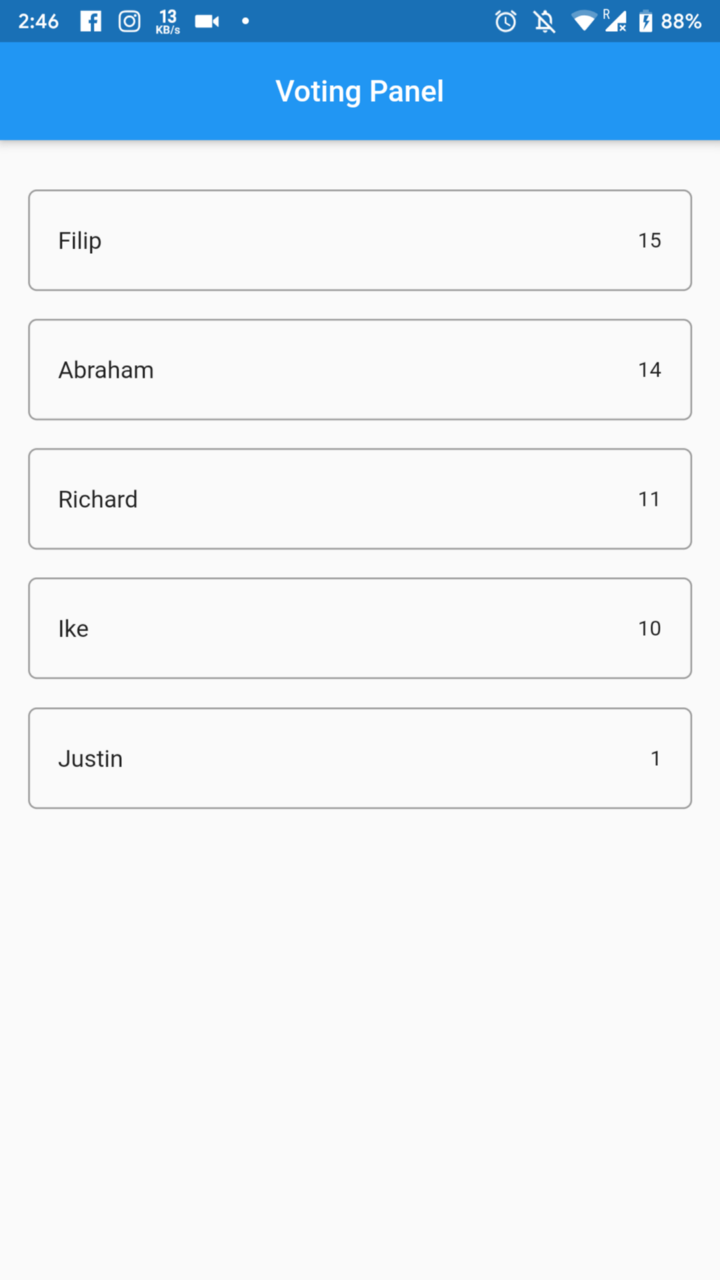 Connecting Cloud Firestore Database to Flutter Voting App