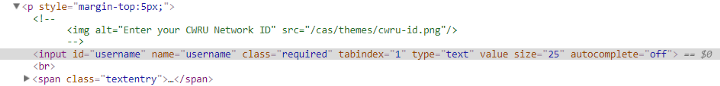 HTML in Chrome developer tools for the webpage