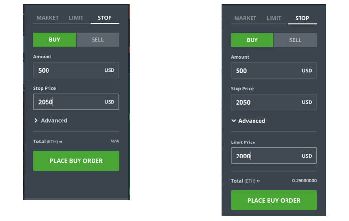 An Example Of A Stop Market Order Left And Limit Right On GDAX