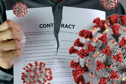 "A photo montage showing a document labeled ""contract"" being ripped in half, with enlarged images of the COVID-19 virus."