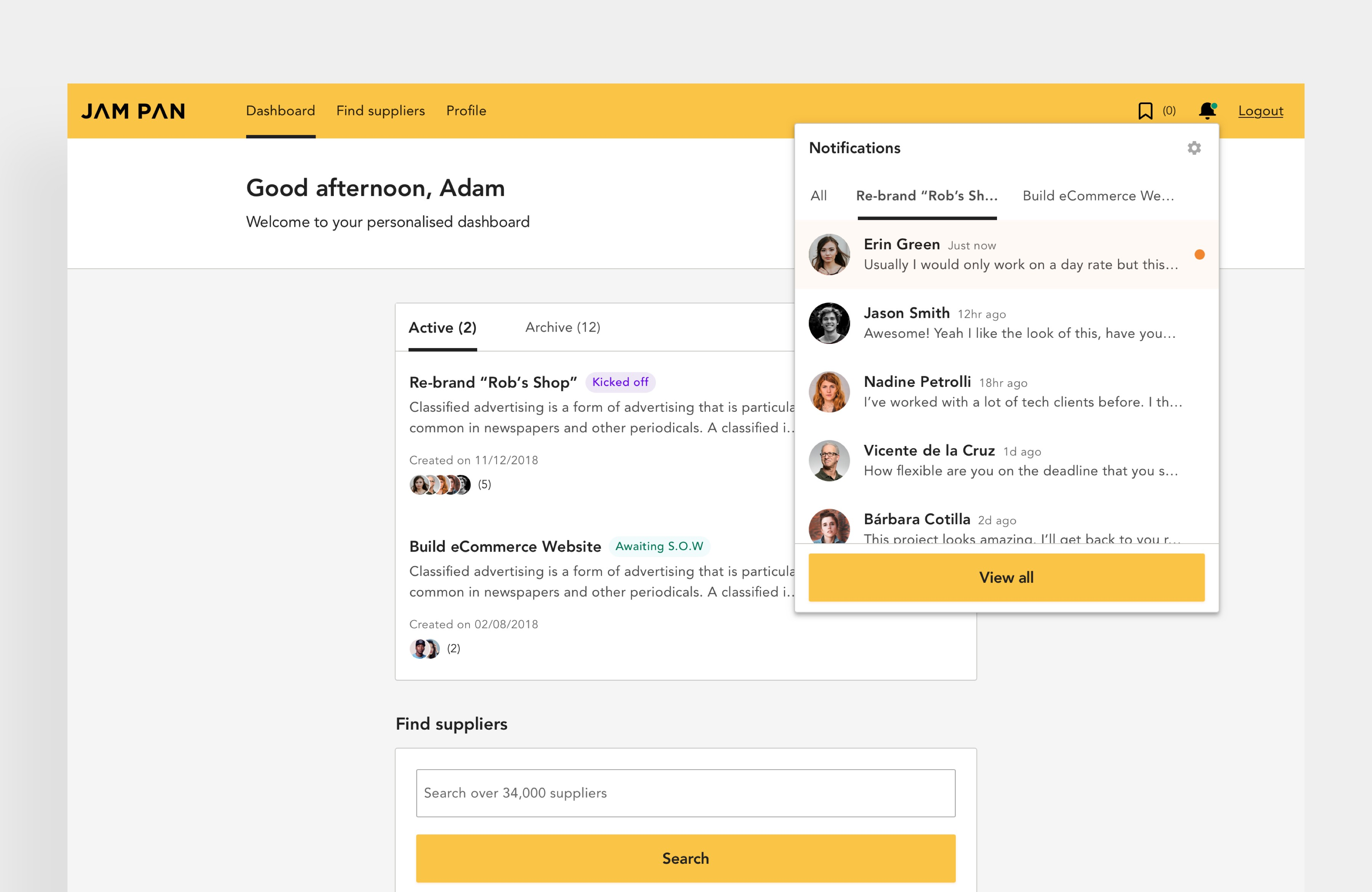 Client's dashboard with Notifications