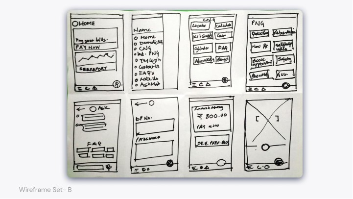 Wireframe Set B image of multiple screens drawn on a single sheet of paper