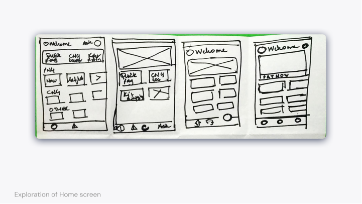 Layout exploration of the home screen—image of multiple layouts of home screens drawn on a single sheet of paper.