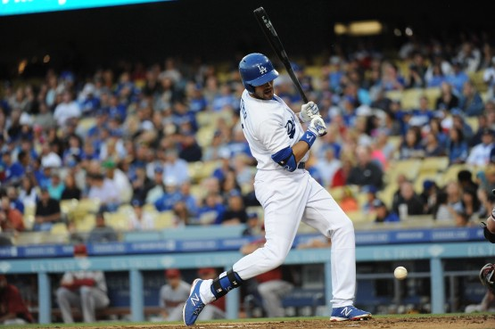 Andre Ethier tied the Los Angeles Dodger record for career HBPs with this plunking on June 13. (Jon SooHoo/Los Angeles Dodgers)