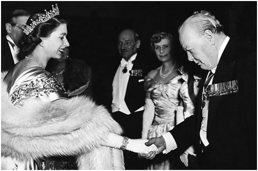 Image result for Queen Elizabeth with Winston Churchill