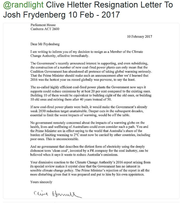 Letter Of Resignation From Climate Change Authority