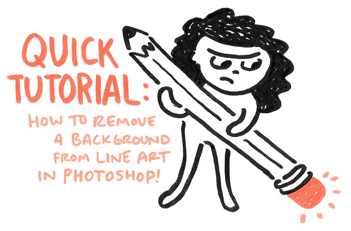 quick tutorial how to remove a background from line art in photoshop