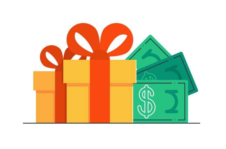 Illustration of gift box with dollar bills sticking out of the side.