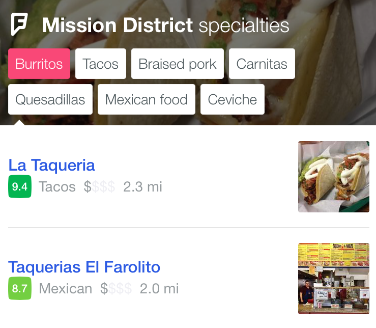 Foursquare City Guide taste selection in Mission District