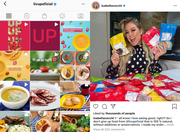 Liv Up's Instagram Feed and Partnership with Influencers