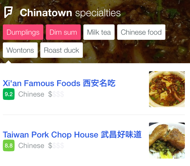Foursquare City Guide taste selection in Chinatown