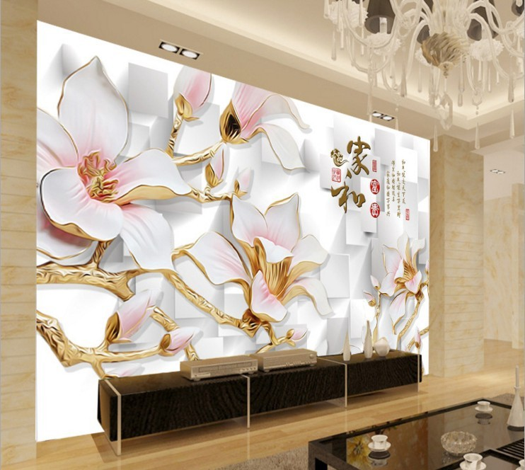 Chinese Style 3 D Tv Setting Wall Mural Wall Cloth Large Sitting