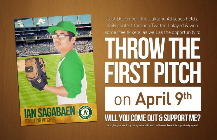 I'm throwing out the ceremonial first pitch at an A's game!