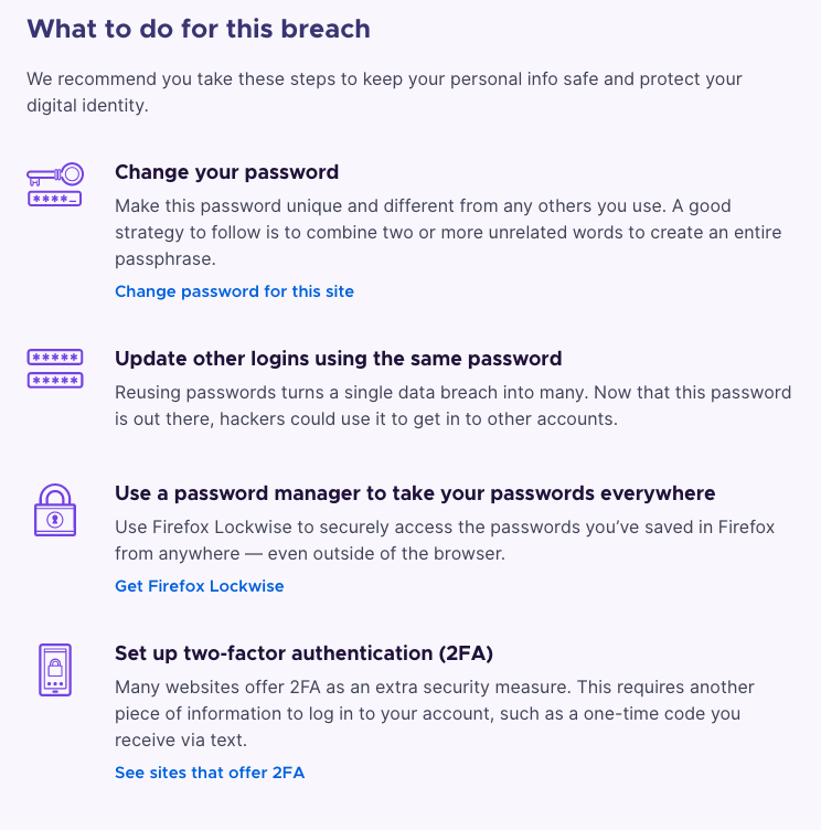 Screenshot of passwords recommendations on the Firefox Monitor website.