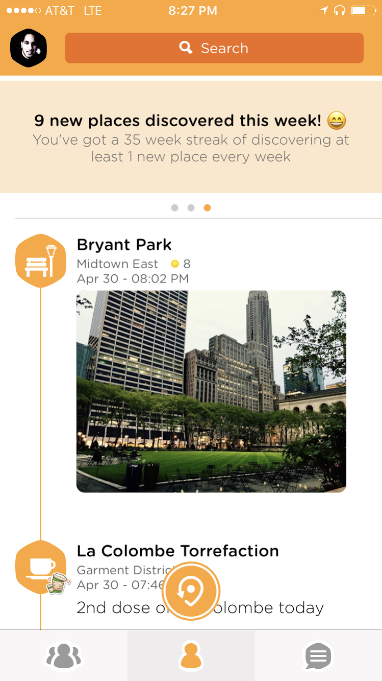 screenshot of Swarm mobile app