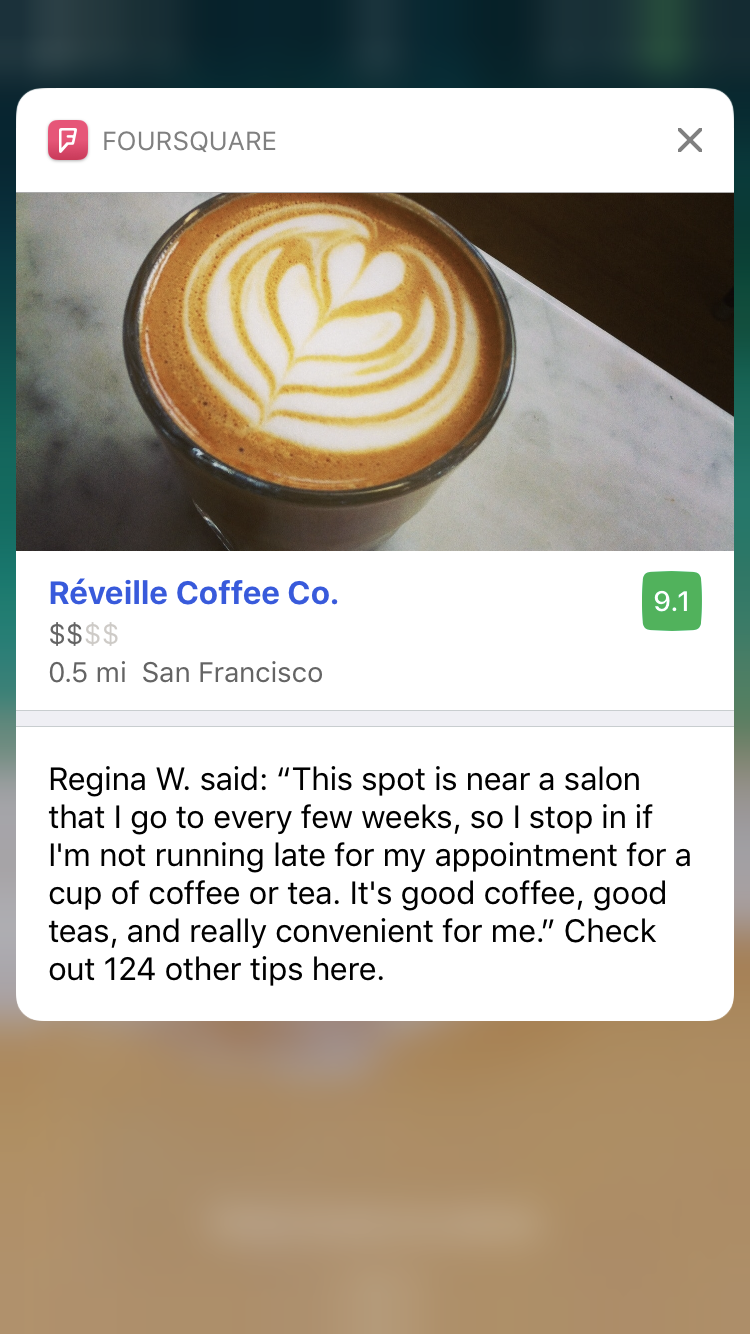 screenshot of Foursquare notification for a coffee shop