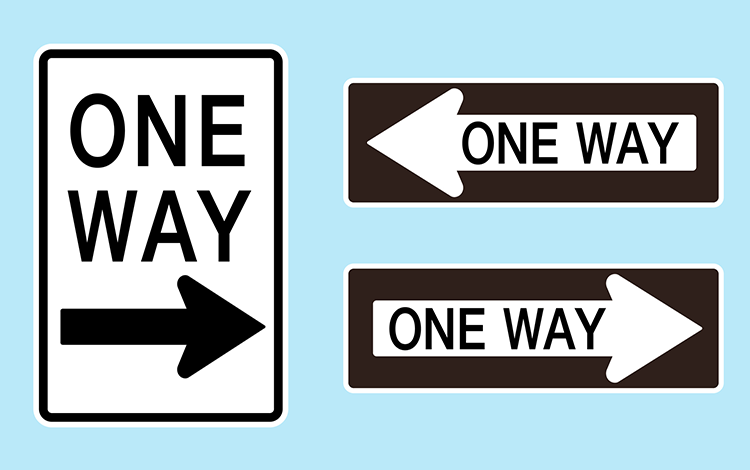 User flows should always be one way, like these road signs
