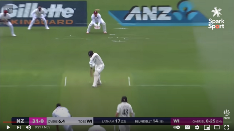 Fig 6 a: Tom Blundell getting bowled by Shannon Gabriel in the 2nd NZ v WI Test 2020;