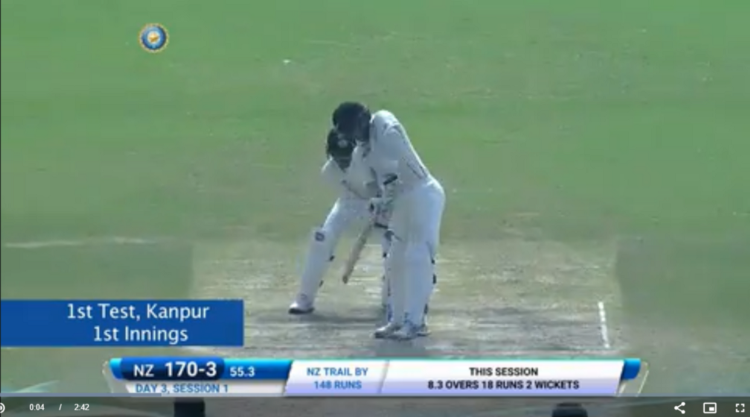 Ashwin getting Williamson bowled in the 1st IND v NZ Test2016