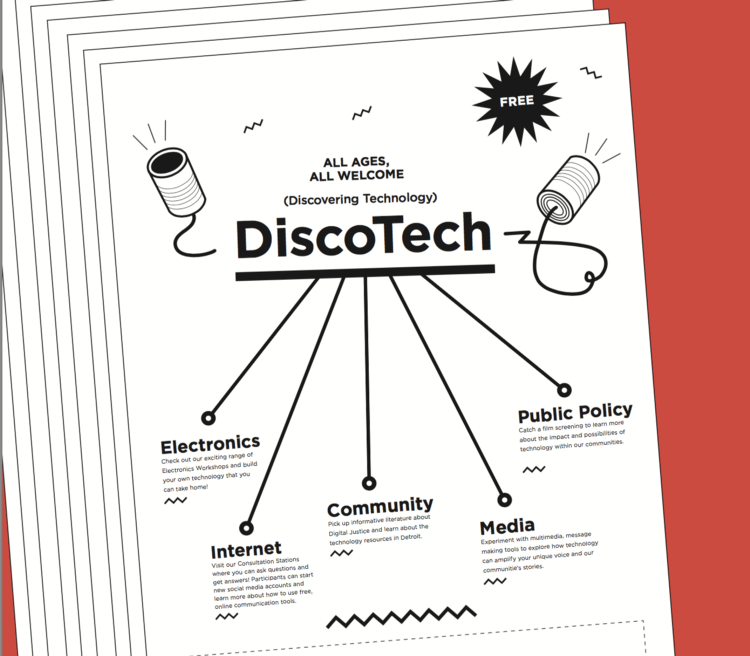 DiscoTech Flyer from the Detroit Digital Justice Coalition
