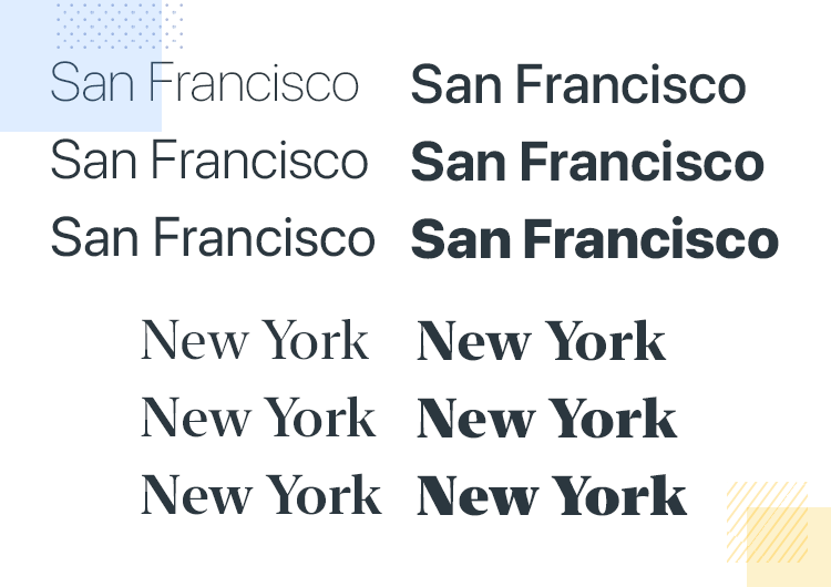 iOS app design—San Francisco fonts and weights