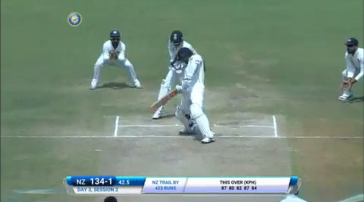Ashwin getting Williamson bowled in the 3rd IND v NZ Test2016