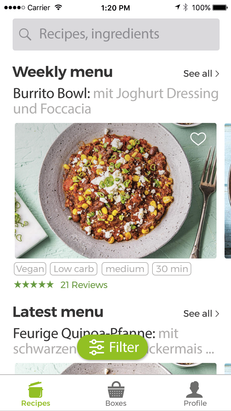 how to optimize a fresh user interface design for hellofresh