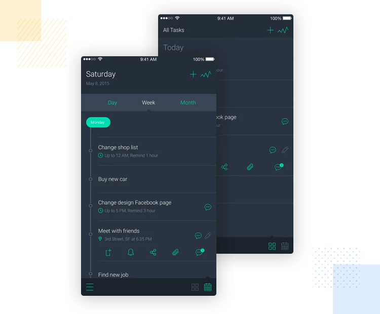 iOS app design—Note Taker UI light and dark appearance