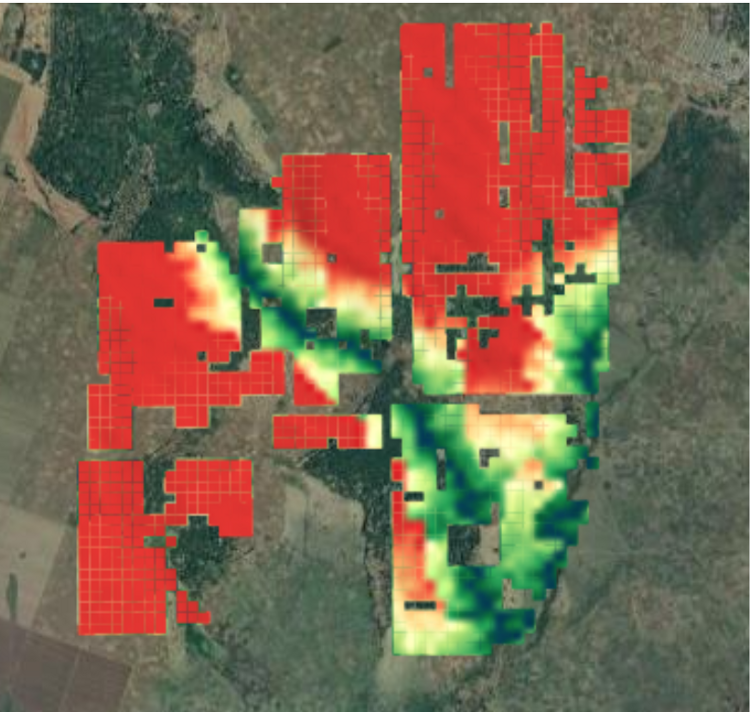 Mapping information about Vegetation masks calculated over the region of Ghana and Amhara