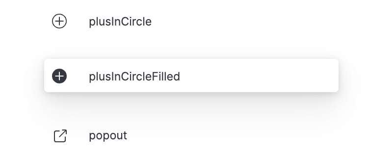 """Documentation for 3 different icons are displayed with the middle one highlighted that is called """"plusInCircleFilled"""""""