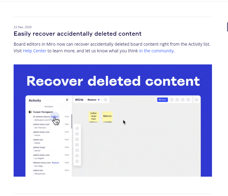 Miro allows recovery of accidentally deleted data