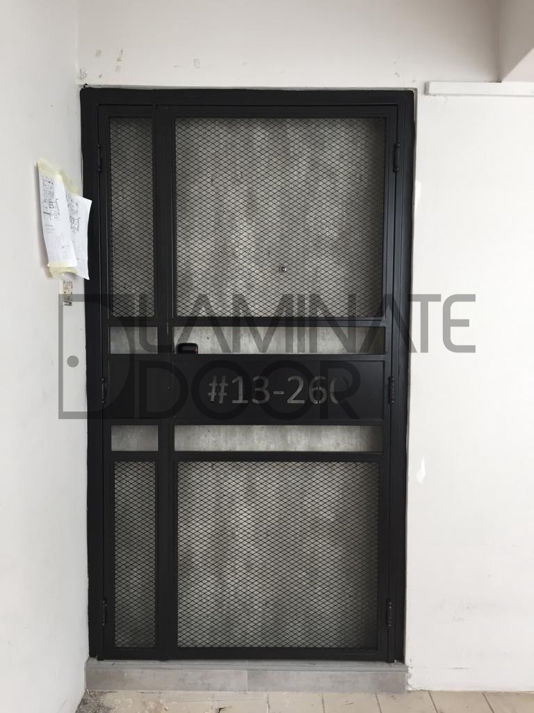 Hdb Designer Pozzolan Fire Rated Main Door With Pet Friendly Mesh Gate