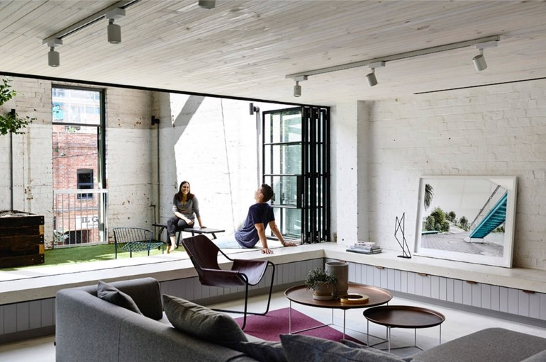 This project is a conversion of a gritty 250m2 brick warehouse in the old industrial area of Fitzroy into a family home. The former industrial building is a ... & Old Industrial Warehouse Converted into a Two-Story Family Home