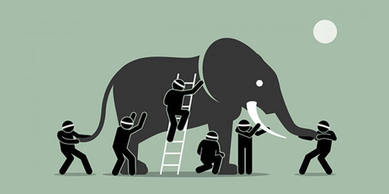 Artistic illustration of an elephant and six men. The men are blindfolded, and each is touching a different part of the elephant.