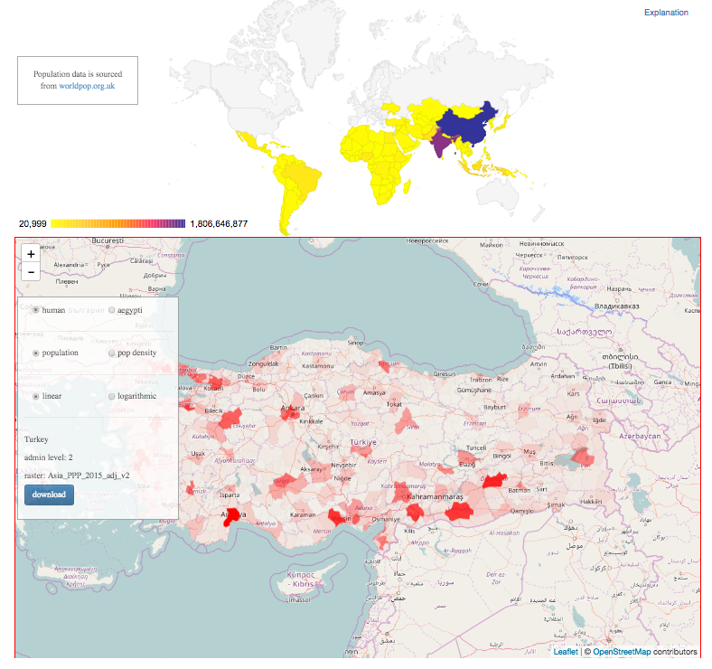 Creating a map at unicef mike fabrikant medium click a country in the world map on top and the map on the bottom loads the shapefile and colors it according to population gumiabroncs Images